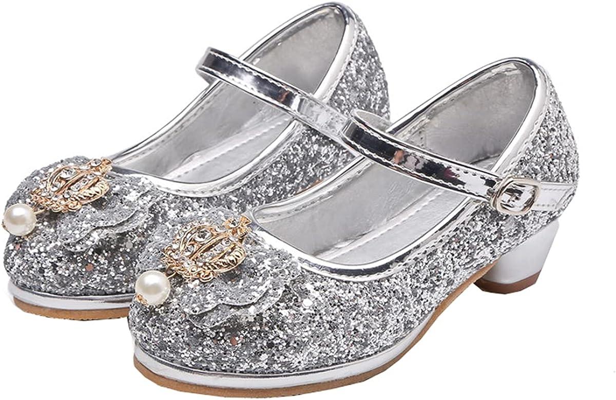JOEupin Girls Dress Shoes Mary Jane Wedding Flower Bridesmaids Heels Glitter Princess Shoes for Kids Toddler