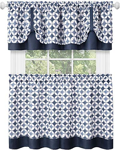 """3-Piece Window Kitchen Curtain Set with Double Layer Plaid Gingham Fabric, Tier Pair Panels and Cuff Tab Top Valance, Farmhouse Decor, Navy, 24"""" Panel Length"""