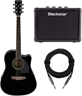Ibanez PF15ECE Dreadnought Cutaway Acoustic-Electric Cutaway Guitar with Fly 3 Amp and Knox Guitar Cable (3 Items)