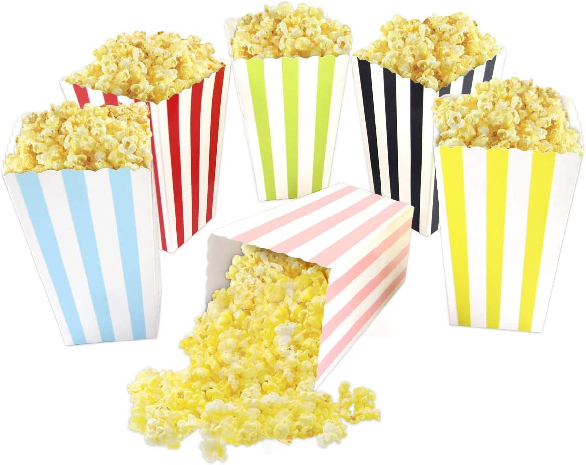 Colorful Striped Popcorn Boxes Popcorn Bags Popcorn Buckets Cardboard Popcorn Container for Party Movie Night Supplies 24Pcs