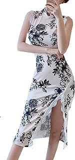 [ ココアンドユカ ] かわいい レース セクシー チャイナ ドレス ロング スリット ワンピース 花柄 ノースリーブ マキシ 胸 パーティ 結婚式 二次会 お呼ばれ