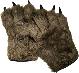 Adult Text Friendly Furry Brown Werewolf Monster Hairy Costume Open Finger Gloves