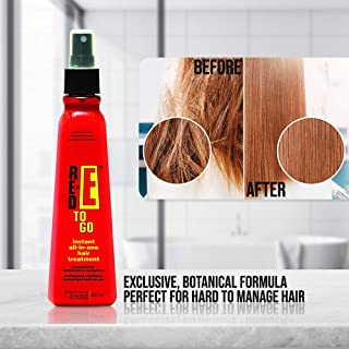 Red-E To Go All-in-One Hair Spray Treatment- 8 Ounce Serum-Control Frizz, Eliminate Split Ends, Protect when Ironing, Condition + Nourish- Botanical Fusion, Instant Action- Travel-Friendly