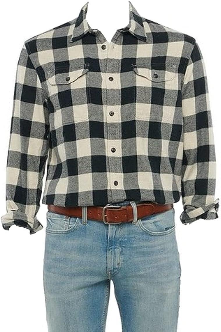 Sonoma Mens Classic Fit Flannel Long Sleeves Shirt Black Beige Buffalo Plaid - 2 Chest Pockets