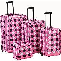 Rockland Escape 4-Piece Softside Upright Luggage Set (Pink Dots)