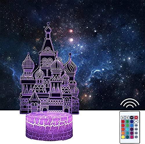 Lámpara de ilusión 3D, castillo europeo 3D, luz nocturna para niños, 16 colores que cambian con mando a distancia, regalo de cumpleaños para niños y niñas