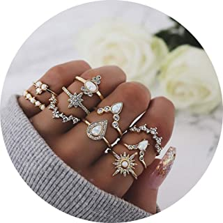 GUYUEXING Boho Vintage Knuckle Gold Rings Set, Crystal Sun Joint Punk Nail Ring Set for Women Girls