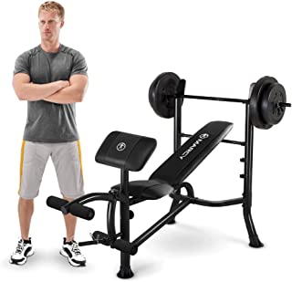 Marcy Standard Workout Bench with 80 lb. Weight Set & Leg Developer Multifunctional Workout Station for Home Gym MWB-20101