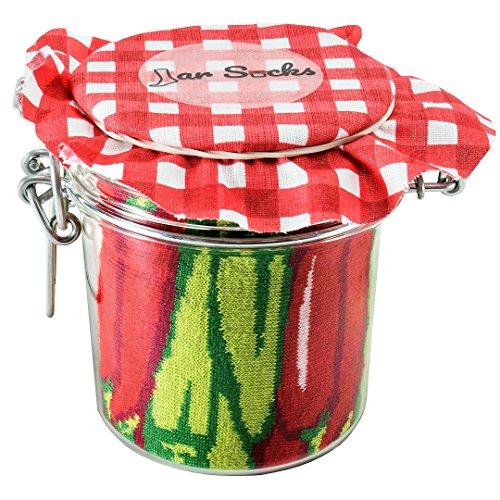 Rainbow Socks - Damen Herren - Chili & Erbsen mit Möhrchen Socken im Glas - Geschenk Idee - 2 Paar - Größen 41-46