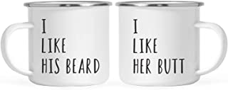 Andaz Press Stainless Steel Campfire Coffee Mugs Gift Set, I Like His Beard, I Like Her Butt, 2-Pack, Metal Enamel Campfire Camp Cup, Includes Gift Box