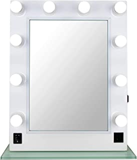Ver Beauty 10 led dimmer light pc body and glass base hollywood vanity makeup wall mount mirror table top,  White Matte