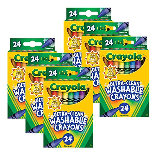 Crayola Ultra-Clean Washable Crayons - Regular Size, 24 Per Pack, 6 Packs