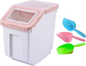 Mairuker Dog Food Storage Container Airtight Box & Bulk Dry Food Storage,Pets Food Bin with Locking Lid, Wheels,Measuring Cup,1pcs Scoops(Random Color)
