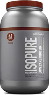 Isopure Low Carb, Vitamin C and Zinc for Immune Support, 25g Protein, Keto Friendly Protein Powder, 100% Whey Protein Isolate, Flavor: Dutch Chocolate, 3 Pounds (Packaging May Vary)
