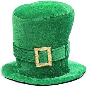 WJA St Patricks Day Hats Men Women St. Patrick's Day Shamrock Green Velvet Top Hat Green St. Patricks Day Party Favor Acce...