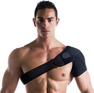 Best Shoulder Support Brace for Men and Women - Compression Sleeve for Shoulders. Adjustable Wrap Provides Stability, Therapy, Recovery and Injury Relief for Rotator Cuff, Dislocated AC Joint, Labrum