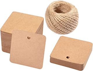 Paper Gift Tags,100 PCS Square Hang Tags with String Kraft Paper Blank Gift Tags with 100 Feet Natural Jute Twine for Arts and Crafts, Wedding Christmas Day