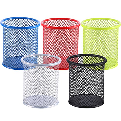 5 Pieces Metal Mesh Pen Holder Pencil Cup Holder Pen Organizer Pencil Holder for Desk Office and School, 5 Colors