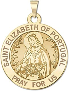 Saint Elizabeth of Portugal Round Religious Medal - 1 Inch Size of a Quarter -Solid 14K Yellow Gold