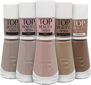 Kit 5 Esmaltes New Top Beauty Vegano - Tons de Nude