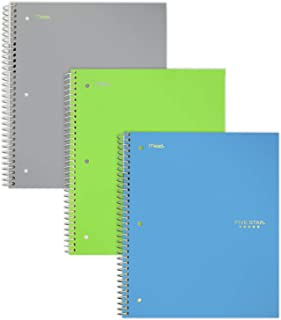 """Five Star Spiral Notebooks, 1 Subject, Wide Ruled Paper, 100 Sheets, 10-1/2"""" x 8"""", Teal, Lime, Gray, 3 Pack (73057)"""