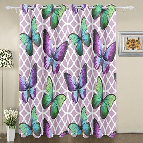My Little Nest Cortinas de janela blackout com borboletas de cor violeta com ilhoses na parte superior e isolamento térmico para quarto, sala de estar, 140 cm L x 213 cm C, 2 painéis