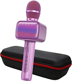 Karaoke Microphone, Wireless Bluetooth Karaoke Microphone with Multi-color LED Lights, Portable Handheld Mic Speaker Machine for iPhone/Andriod/PC/Tablet, Indoor & Outdoor Home Party KTV(Pink)