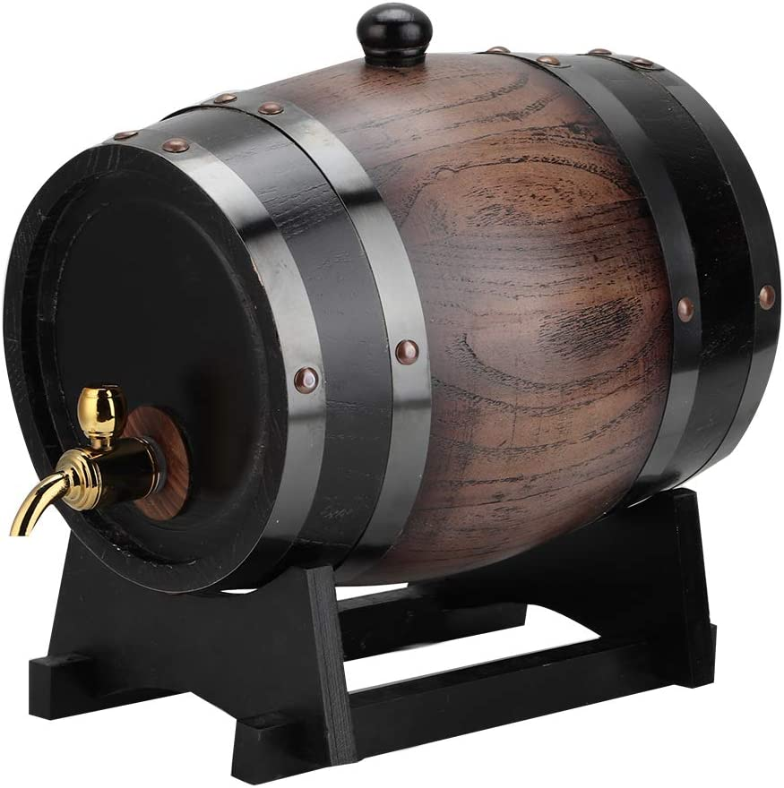 Oak Aging Free shipping on posting reviews Barrel 3L Vintage Striped Red B Wine Cheap mail order specialty store Black Premium