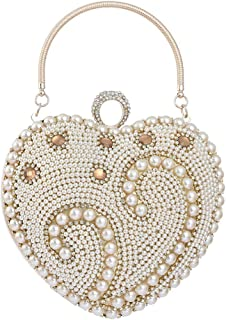 Sturdy Women Ladies Rhinestone Crystal Banquet Party Evening Handbag Faux Pearl Chain Shoulder Diagonal Tote Handbag Party Wedding Bridal Clutches Handbag for Large Capacity (Color : Gold)