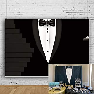 AOFOTO 10x8ft Father`s Day Background Black Tuxedo Suit Bow Tie White Shirts Graphic Stairs Photography Backdrop Boyfriend Dad Birthday Party Celebration Stage Performance Backcloth Photo Studio Props