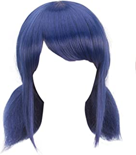 DAZCOS Marinette Wig for Girls Cosplay Blue Hair with Tails [ Adult/Child ]