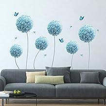 decalmile Muurstickers Blauwe paardebloem Muurtattoos Allium Bloem Vlinder Wanddecoratie Slaapkamer Huiskamer Kantoor Huis...