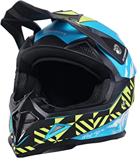 Actionbikes Motors Kinder Cross Helm Hornet ECE 22/05 Norm - Straßenzulassung - Motocross - Crosshelm - Downhill - Fullface Blau, L