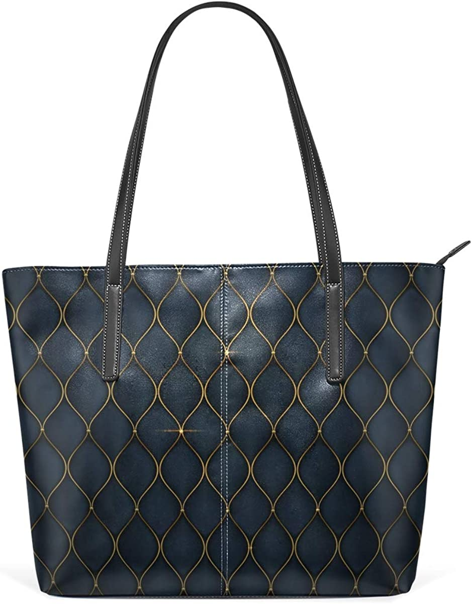 Los Angeles Mall Black Luxurious Golden Shapes PU Max 48% OFF Leather Bag for Women Hig Tote
