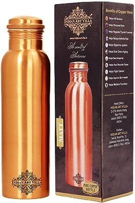 Indian Art Villa Copper Water Bottle, Drinkware, 1000 ML, Brown