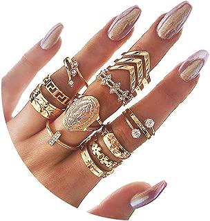 3-16 PCS Knuckle Stacking Rings for Women Girls,Boho Vintage Geometric Teardrop Crystal Midi Finger Rings Set