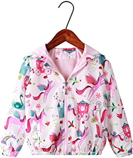 Moonnut Baby Girls Jackets with Hood Spring Outwear Coat Zipper Unicorn for 1-5 Years Baby Toddler