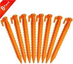 AHIROT Camping Tent Stake Pegs / 8 Pack Outdoor Plastic Stakes for Bounce House Rain Tarps Outdoor Activities, Durable Plastic, Safety Orange-8.8 inch