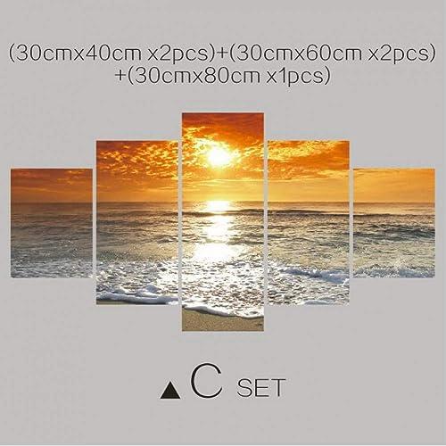 nueva marca Giow 5 Unidades Arte de la Lona Imagen Imagen Imagen Modular Mar Pintura Moderna Imágenes En La Parojo para La Cocina Hogar Decoración de Arte de Parojo A Prueba de Agua  respuestas rápidas