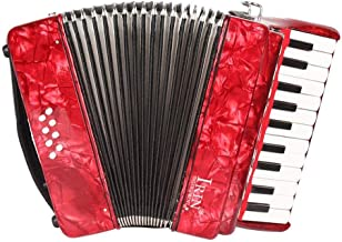 Volwco 22-Key 8 Bass Piano Accordion,Professional Piano Accordion Music Instrument with Straps Gloves Cleaning Cloth for Beginners Students Adult Children