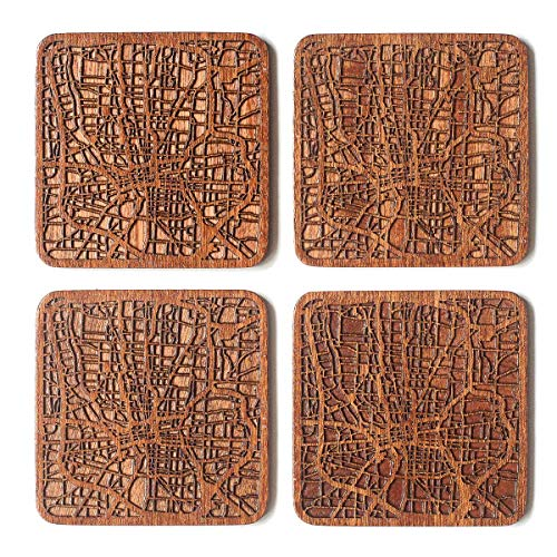 Columbus, OH Map Coaster, Set of 4, Sapele Wooden Coaster with city map, Multiple city optional, Handmade