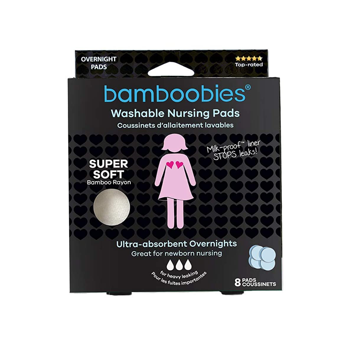 Bamboobies Nursing Pads for Breastfeeding | Reusable Breast Pads | Perfect Baby Shower Gifts | 4 Overnight Pairs