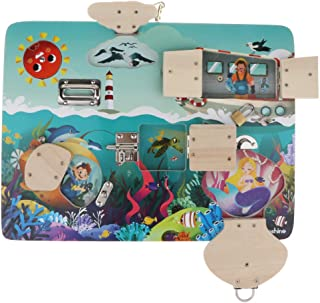 MagiDeal Fun Open Locks Latch Board Puzzle Wooden Educational Toy for Kids Baby Early Brain Training Game Gift - Ocean Pattern, as described