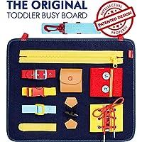 Tavola occupata per bambini ispirata a Montessori per promuovere l'apprendimento pratico, le abilità di base e lo sviluppo motorio. Progettato per i bambini dai genitori, questo giocattolo educativo in attesa di brevetto è dotato di 9 fibbie, cravatt...