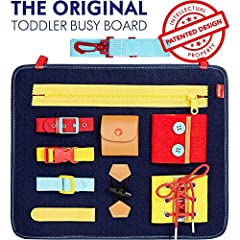 Montessori inspired toddler busy board to promote hands-on learning, basic skills and fine motor development Designed for kids by parents, this PATENTED sensory board features 9 buckles, ties and buttons Soft felt wool board measures 11x12.5in and we...