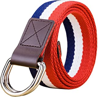 Double D-Ring Buckle Webbed Belts,1.3 Inch Wide Solid Color Fashion Belt for Women and Teenagers