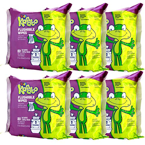 Flushable Wipes for Baby and Kids by Kandoo, Magic Melon, Potty Training Wet Cleansing Cloths, 100 Count, Pack of 6