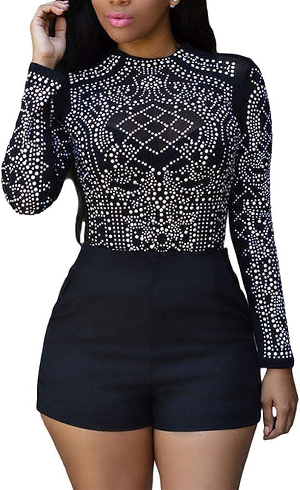 BOZEVON Bodysuit Tops for Women - Long Sleeves Rhinestone Top Sheer Mesh Bodycon T-Shirt Blouse