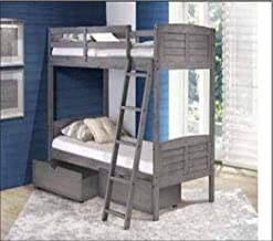 Donco Kids Louver Bunk Dual Under Bed Drawers, Twin/Twin, Antique Grey