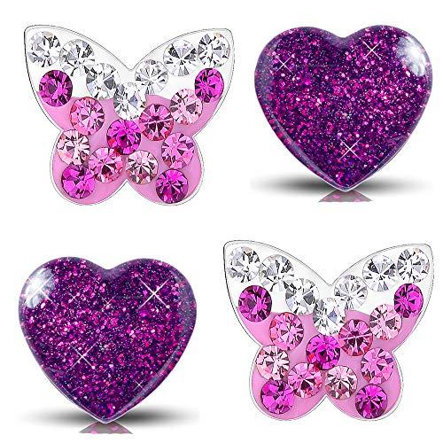 Kleine Mädchen Kinder Ohrringe echt 925er Sterling Silber Ohrstecker lila pink Edelstahl Schmetterling Herz (K953+K296)
